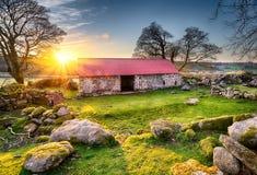Gammal ladugård på solnedgången Royaltyfri Bild
