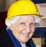 gammal lady för hård hatt Royaltyfri Fotografi