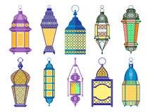 Gammal lamp- och lyktauppsättning för Ramadan av arabisk stil klar vektor för nedladdningillustrationbild royaltyfri illustrationer