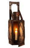 Gammal lampa med det brännande stearinljuset Fotografering för Bildbyråer