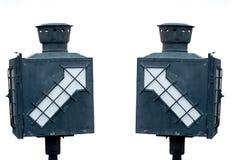 Gammal lampa på drevstationen och vitbakgrund Royaltyfria Bilder