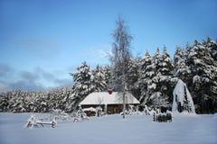Gammal lantgård i skogen på vintern Arkivbild