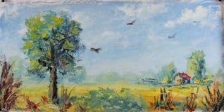 Gammal lantgårdby, olje- målning Royaltyfria Bilder