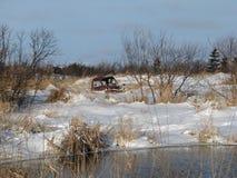 Gammal lantgårdlastbil vid dammet fotografering för bildbyråer