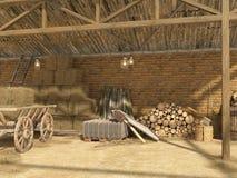 Gammal lantlig ladugård med baler av hö, vedträ, hjälpmedel för arbete En gammal vagn med hö under en markis visualization 3d Royaltyfri Foto