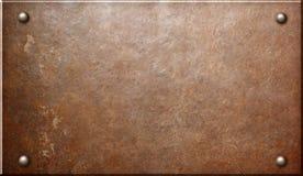 Gammal lantlig metallplatta eller platta med illustrationen för nitar 3d stock illustrationer