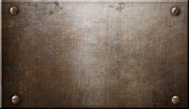 Gammal lantlig stålmetallplatta eller platta med illustrationen för nitar 3d vektor illustrationer