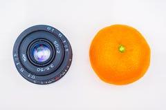 Gammal lins och tangerin eller apelsin på vit tabellbakgrund fotografering för bildbyråer