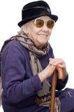 gammal lycklig lady fotografering för bildbyråer