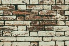Gammal målad textur för tegelstenvägg - retro stilgrungebakgrund Arkivbild