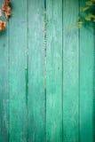 Gammal målad vägg av träplankor Arkivfoto