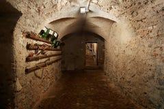 Gammal mörk källarekorridor i forntida hus Arkivbild