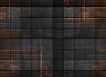 Gammal mörk wood textur med fyrkantiga modeller royaltyfri foto