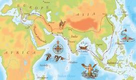 Gammal marinöversikt Marco Polo väg Fotografering för Bildbyråer