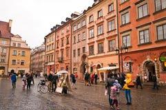 Gammal marknadsfyrkant i Warszawa Arkivfoton