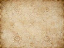 Gammal medeltida nautisk översiktsbakgrund royaltyfri illustrationer