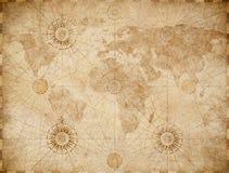 Gammal medeltida nautisk världskarta stock illustrationer