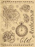 Gammal mekanism av klockan i steampunkstil stock illustrationer