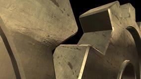 Gammal mekanism av två guld- kugghjul Svart bakgrund close upp Alpha Channel stock illustrationer
