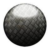 Gammal metallisk boll för grå färger och för rost Isolerat med den snabba banan illustration 3d royaltyfri illustrationer