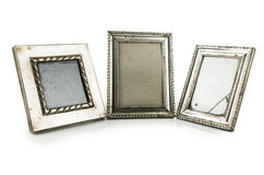 Gammal metallisk fotoram arkivbilder