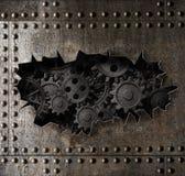 Gammal metallpansarbakgrund med den rostiga kugghjul- och för kuggar 3d illustrationen royaltyfri illustrationer