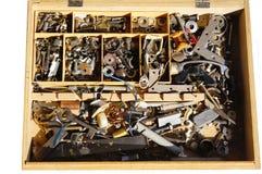 Gammal metalwaresamling Fotografering för Bildbyråer