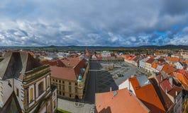 Gammal mitt i staden Jicin - Tjeckien Arkivbilder