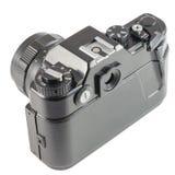 GAMMAL 35mm SLR kamera på vit bakgrund Arkivfoto
