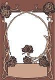 Gammal modestil för ram med rosor Arkivfoto
