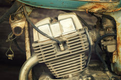 Gammal motorcykelmotor Royaltyfri Foto