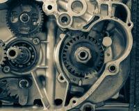 Gammal motorcykelmotor Royaltyfria Foton