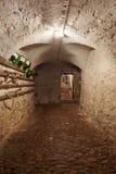 Gammal mörk källarekorridor i forntida hus Arkivfoto