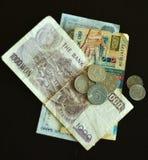 Gammal mynt och kassa royaltyfri fotografi