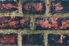 Gammal närbild för tegelstenvägg för bakgrund arkivfoton
