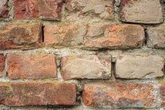 Gammal närbild för vägg för röda tegelstenar Arkivfoto
