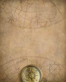 Gammal nautisk översikt med kompasset vektor illustrationer