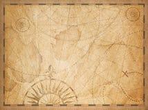 Gammal nautisk gömd skattöversiktsbakgrund stock illustrationer