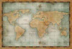 Gammal nautisk världskartabakgrund stock illustrationer