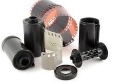 Gammal negativ film med kassetten Arkivbilder