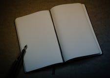 Gammal notepad, bläckpenna och bläckhorn Royaltyfria Foton