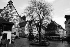 Gammal Nuremberg stad i vinter Royaltyfri Foto