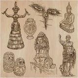 Gammal och infödd konst, konstverk - en hand dragen vektorpacke, freeha vektor illustrationer