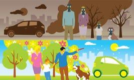 Gammal och ny ecobil Vektor Illustrationer