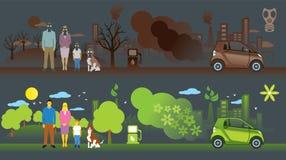 Gammal och ny ekologibil Stock Illustrationer