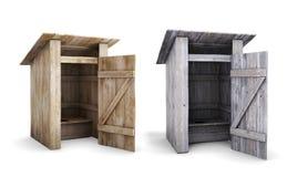 Gammal och ny träutomhus- toalett med den öppna dörren Arkivfoton