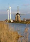 Gammal och ny wind mal Arkivbild