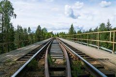 Gammal och smal bro för trä- och stålkonstruktionsjärnväg Fotografering för Bildbyråer