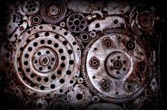 Gammal och smutsig bakgrund för svetsning för metallhjulkugghjul Royaltyfri Fotografi