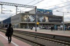 Gammal och stängd järnvägsstation i Poznan Arkivbild